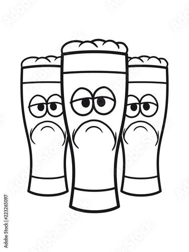 3 Freunde Team Crew Bier Alkohol Saufen Trinken Betrunken Glas Durst