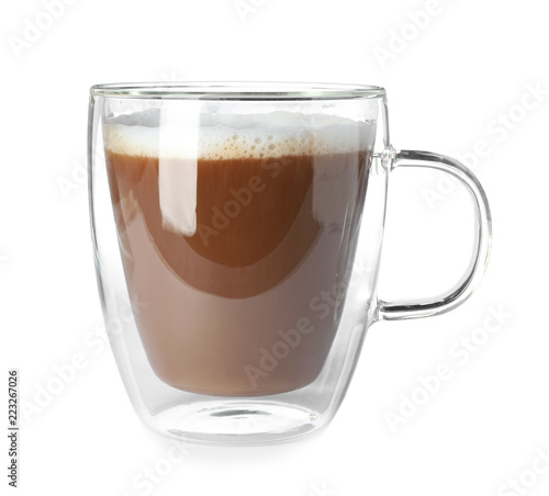 Double wall glass coffee cup isolated on white Fototapete