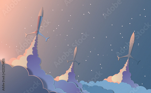 Rockets launch to the sky.