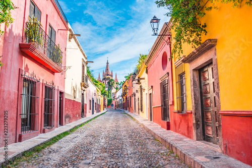 Beautiful streets and colorful facades of San Miguel de Allende in Guanajuato, Mexico