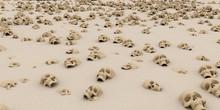 Heap Of Skulls On Sand. Apocal...