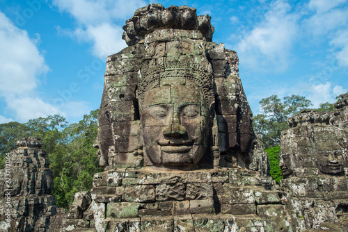 Wall Murals Place of worship The mystery face towers in Bayon temple, temple of King Jayavarman VII. The faces were believed to represent Brahma, the Hindu God of creation but some believe that it is the King himself.