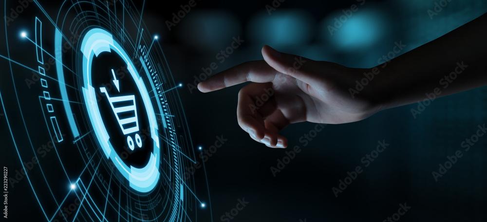 Fototapeta e-commerce add to cart  online shopping business technology internet concept