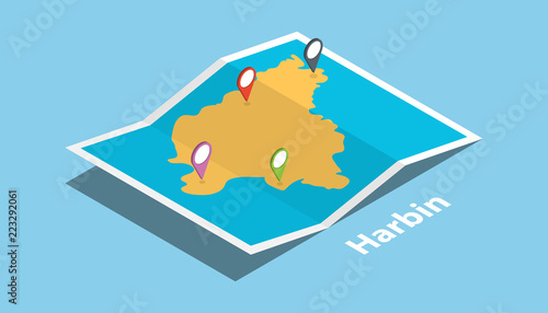 Photo explore harbin maps with isometric style and pin location tag on top