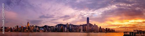 Photo sur Toile Hong-Kong Hong Kong cityscape; Panorama from across Victoria Harbor