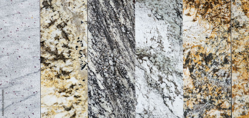 Fototapeta close up on granite sample in store as background