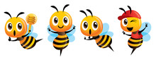 Cartoon Cute Bee Mascot Set. C...