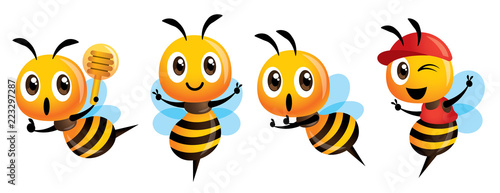 Photographie Cartoon cute bee mascot set