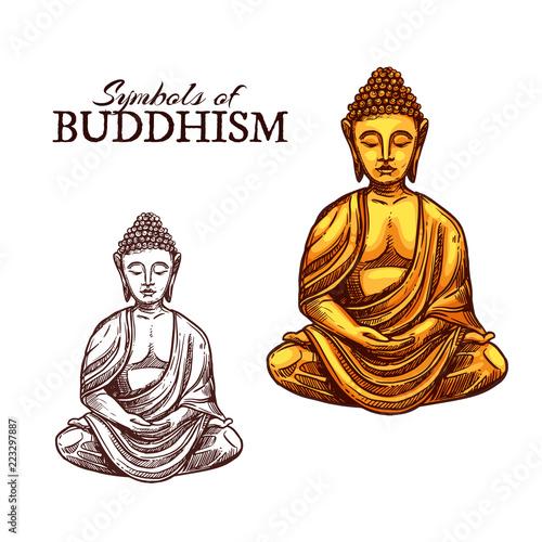 Fotografia  Buddhism religion and Buddha symbol sketch