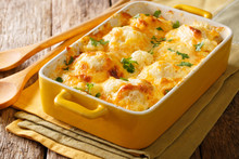 Savory Food: Baked Cauliflower With Cheese, Eggs And Cream Close-up In A Baking Dish. Horizontal