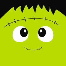 Frankenstein Zombie Monster Square Face Icon. Happy Halloween. Cute Cartoon Funny Spooky Baby Character. Green Head. Greeting Card. Flat Design. White Background.