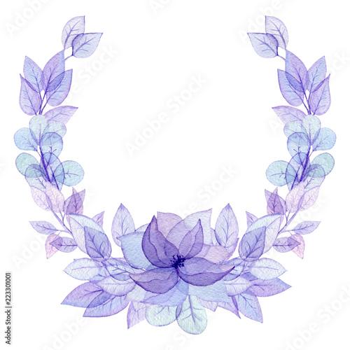 wieniec-z-akwarela-swiatlo-fioletowe-liscie-i-kwiaty