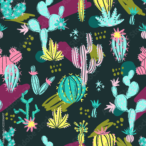 Fotomural Vector illustration of hand drawn cactus. Seamless pattern. Brig