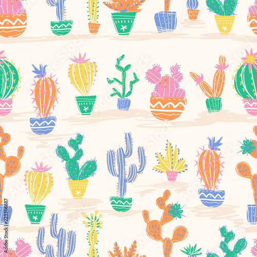 Tela Vector illustration of hand drawn cactus. Seamless pattern. Brig