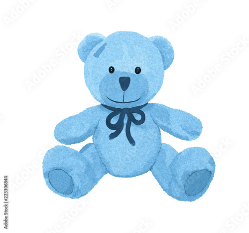 Cute little blue teddy bear with patch
