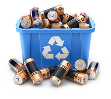 Batteries In Blue Recycle Crat...