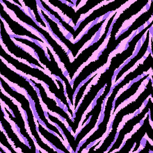 Seamless Pattern With Zebra Fur Print. Vector Illustration. Exotic Wild Animalistic Texture. Neon Pink, Purple, Black Striped Wallpaper.