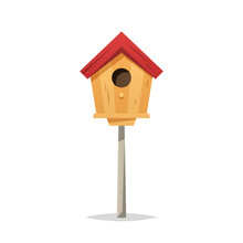 Wooden Birdhouse Vector Isolat...
