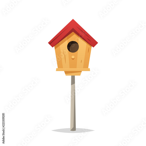 Fotografiet Wooden birdhouse vector isolated illustration