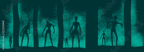 Photo Zombie silhouettes in dark forest