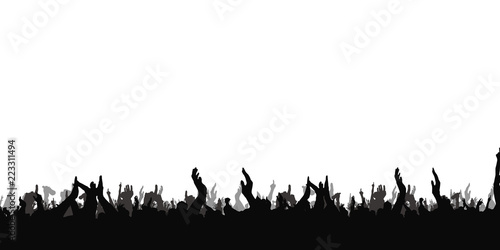 Hands at the concert, silhouettes against stage lighting. Isolated on white background. - 223311494