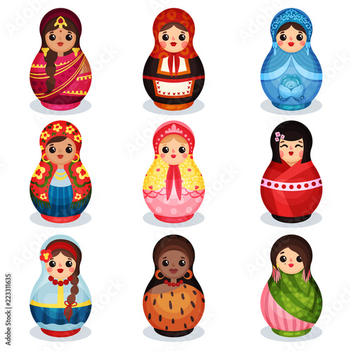 Tablou Canvas Nesting dolls set, wooden matryoshka in colorful costumes of different countries