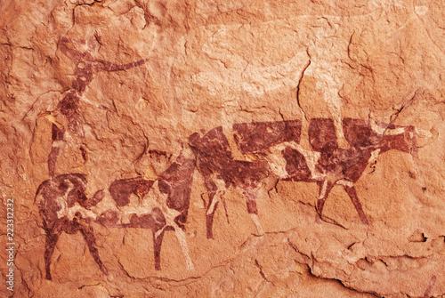 Staande foto Algerije Rock paintings of Tassili N'Ajjer, Algeria