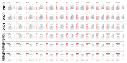 Fotografia  Year 2019 2020 2021 2022 2023 2024 calendar vector design template