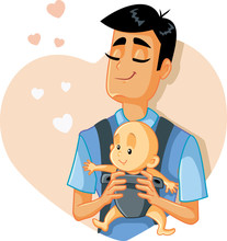 Loving Father Holding Baby Vector Illustration