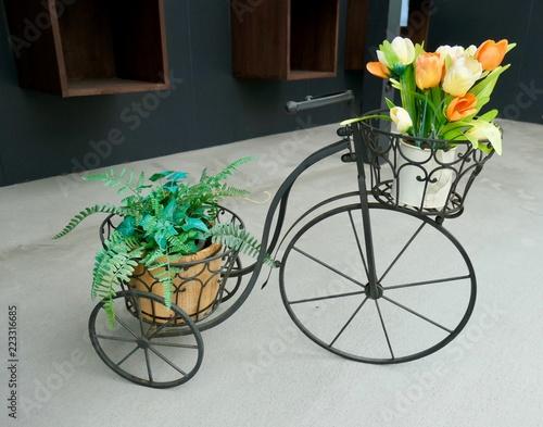 In de dag Fiets 花と自転車