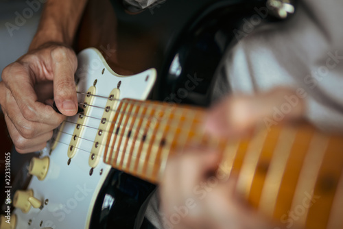 Photo  Guitarist playing electric guitar
