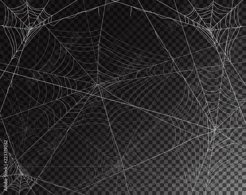 Black transparent background for Halloween with spiderwebs Canvas-taulu