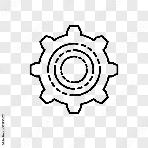 Fotografía  Settings vector icon isolated on transparent background, Settings logo design