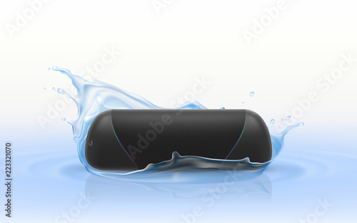 Obraz Vector 3d realistic portable loudspeaker in blue water. Waterproof wireless sound device isolated on white background, hi-fi stereo in splashing drops of liquid. Stereo equipment, electronic player. - fototapety do salonu