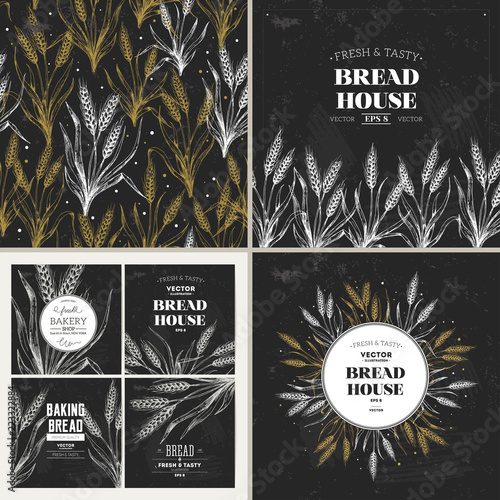 bread chalkboard design template collection banners pattern