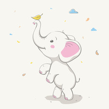 Lovely Cute Elephant Playing W...