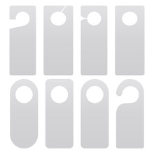 Door Hanger Set Isolated On White Background. Vector Illustration