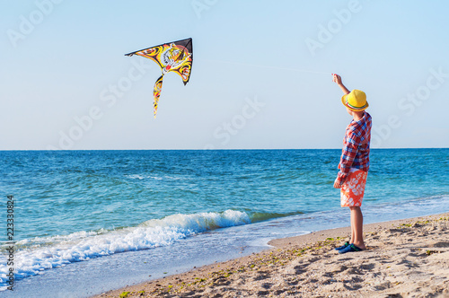 Fényképezés  Boy starts a kite on the seashore. Summer Leisure