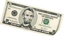 5 Dollars Bill - Isolated