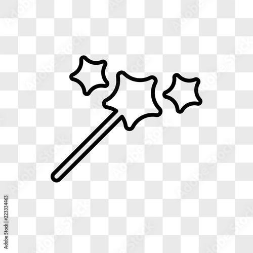 Fotografie, Obraz  Magic wand vector icon isolated on transparent background, Magic wand logo desig