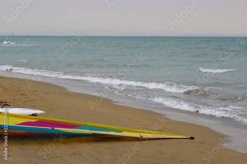 On the beach a surf sail