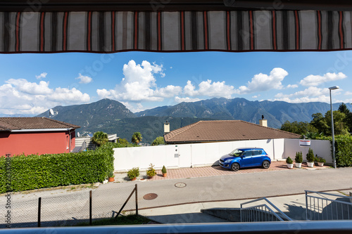 Fotobehang Tuin Terrace with view on Swiss hills