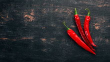 Chili Red Pepper. On A Black W...