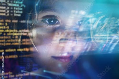 new technologies, a child uses a futuristic processor for augmented reality Fototapeta