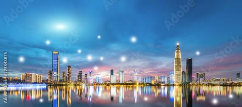 Foto op Aluminium Nacht snelweg shenzhen City Scenery and Big Data Concept