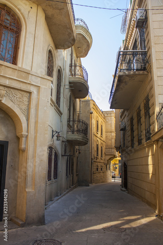 Baku - June 6, 2017. Narrow street of Icheri Sheher - Old Town in Baku, Azerbaijan