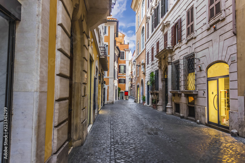Typical Italian street in the centre of Rome, no people