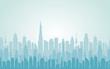 City skyline Daytime cityscape in flat style Urban landscape vector illustration