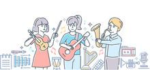 Music School - Colorful Line Design Style Illustration