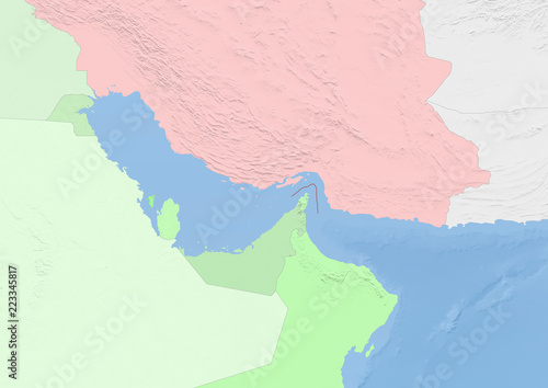 Fényképezés  map of the strait of hormuz and coastal states